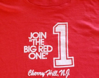 80s Screen Stars #1 Join the Big Red One Cherry Hill New Jersey Vintage T Shirt Medium Large