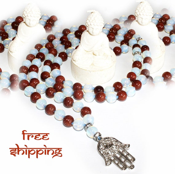 Japa Mala Hand Knotted 108 Gemstone Sun and Moon Stones 8mm Beads Prayer Yoga Necklace for Meditation and Mantra - Free Shipping