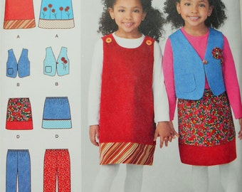 Child's Jumper,Lined Vest, Pants and Skirt. Simplicity Sewing Pattern 1568 in Size 3-8. Children's Pull-On Pants, Girls Jumper, Girls Vest