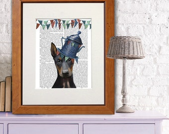 Doberman art Milliners Dog Print Doberman Print colorful wall art Dog wall décor Nursery Art for Kids Room dog art nursery dog print