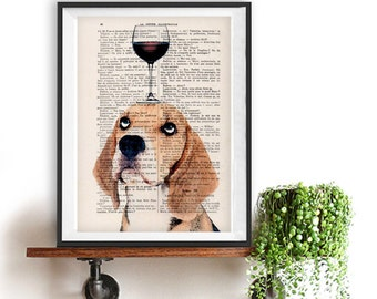 Beagle Print, beagle artwork, French design, black and white, beagle poster Art Print on recycled french book page
