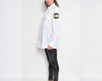 Vintage 80' Melrose Park POLICE White Button Shirt