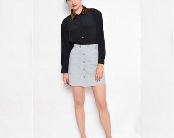 Vintage 80's  Leopard Collar Button Shirt / Black Long Sleeve Blouse - Size Medium
