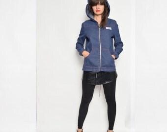 Vintage 70's Denim Hooded Jacket / Blue Denim Zipper Jacket