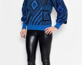 Vintage 80's Geometric Blue and Black Sweater