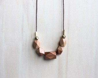 wooden geometric necklace // caramel copper dipped necklace for girls, women - minimalist everyday jewelry - eco-friendly