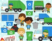 Trash Collectors Clipart and Lineart - personal and commercial use