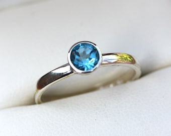 London Blue Topaz & Silver Ring Stacking/Engagement/Gift/Birthstone