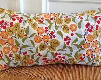 Flower Pillow Cover 12 x 20 inch Pillow Cover Blue Pillow Cover Fall|Autumn Pillow Cover Orange Flowers Pillow Cover Lumbar Pillow