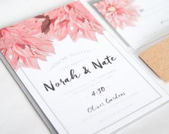 Watercolor Flower Dahlia Wedding Invitation: NORAH.