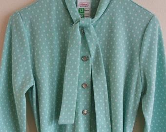Vintage 1980's Polka Dot Midi Dress
