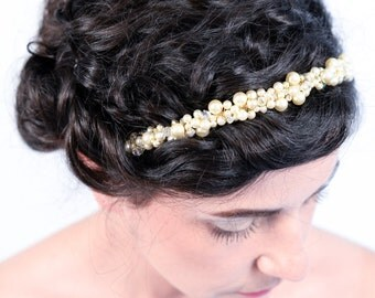 Rebecca. Bridal tiara headband encrusted with faux pearls and Swarovski crystals.