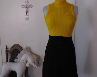 70's Yellow Knit Tank Dress sz Sm