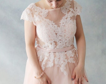 SALE-Rose Tea -Short Knee Length Blush Lace Wedding Dress with Cap Sleeves. - AM1982985
