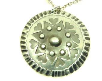 Vintage Pewter Shield Pendant Necklace by Rolf Buodd of Norway, Nordic Pendant