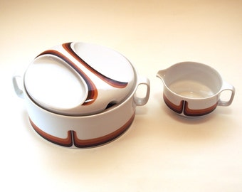 Retro Serving Bowl and sauce jug. Covered Dish Soup Tureen, Gravy boat Eschenbach. White with retro brown decor,