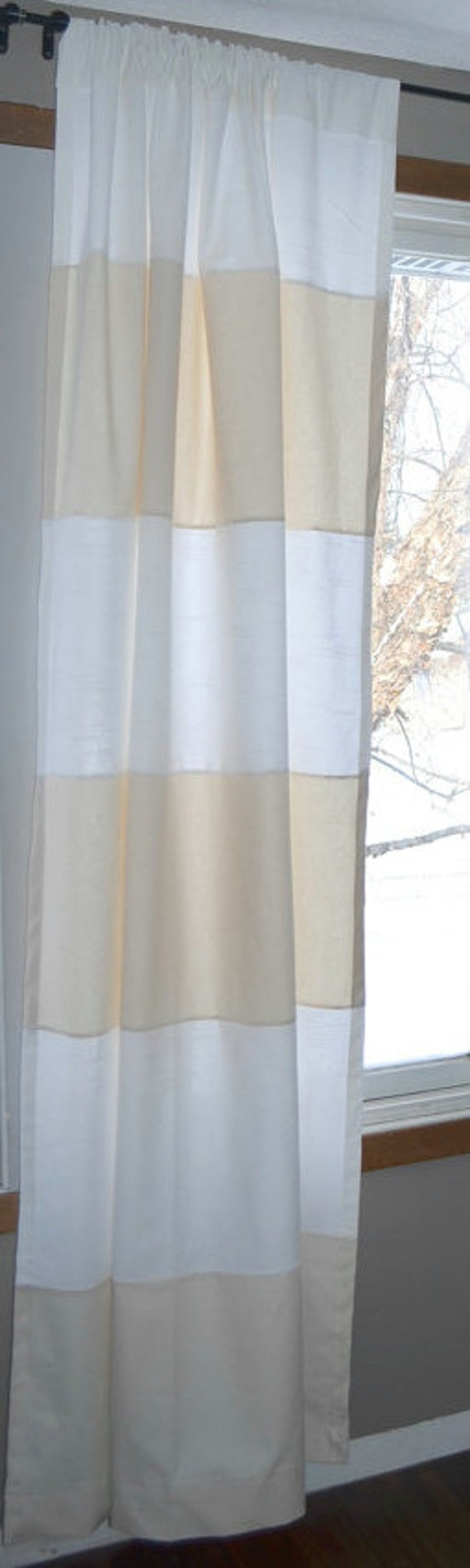 Cream And White Custom Striped Curtains Stripes Color