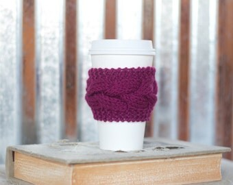 Plum Cable Knit Coffee Cozy w/Wood Button/ Tea Cozy/ Cup Cozy/ Coffee Cover/ Coffee Sleeve/ Latte Cozy