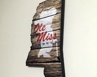 Ole Miss -Mississippi Shaped Print