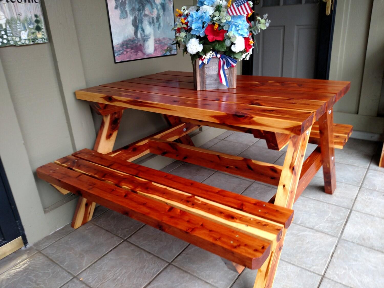 Eastern red cedar picnic table
