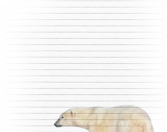 Printable Polar Bear Journal Page, Wild Bear Stationery, Lined Paper, Instant Download, Scrapbook Paper, White Bear Digital Stationery