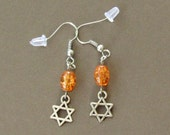 Star of David Earrings Orange *Judaism,Jewish,silver,religion,religious symbols,Passover,Jerusalem,Hebrew,minimalist,for her