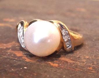 9mm Pearl & Diamond Yellow Gold Ring