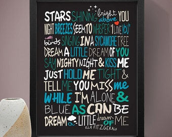 Ella Fitzgerald - Dream A Little Dream of Me Print, Music Poster, Song Lyric Print