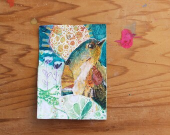 """ORIGINAL Art ACEO  Tiny Acrylic Painting 3 1/2 by 2 1/2 inches """"Bluebird of thoughtfulness""""  by Linda E Clarke  Mixed MediaPainting"""