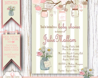 Mason Jars Baby Girl Shower Invitation Shabby Chic Baby Shower Invitation Mason Jar Invitation It's A Girl Pink and Gray - GS012