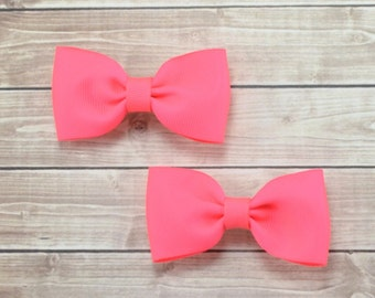 Neon Pigtail Bows, Neon Pink Bows, Solid Hair Bows, Pigtail Hair Bows, Tuxedo Hair Bows, Neon Hair Clips, Neon Bows, Neon Pink Hair Bows