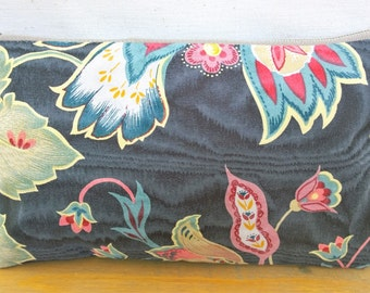 Abstract Floral Handbag / Cosmetic Bag / Zipper Pouch - Upcycled Floral Denim