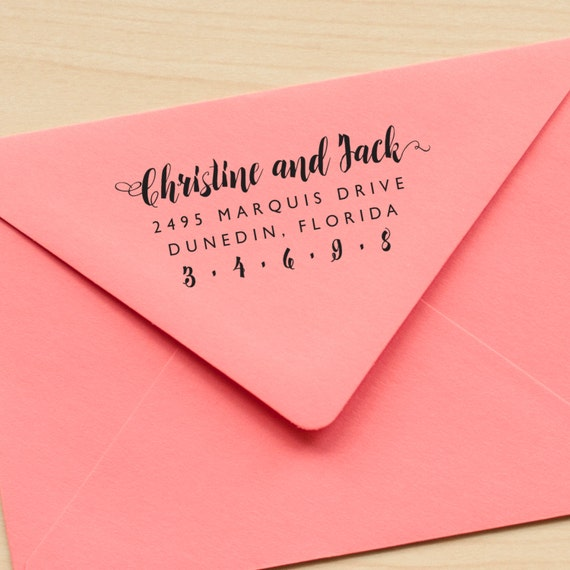 Calligraphy Address stamp Personalized Wedding Stamp, Wedding Invitation stamp rustic wedding stamp wedding stationery eco friendly rubber