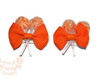 Orange Lollipop Hair Clips, Edible Weddings and More, Orange Party Ideas, Halloween Costume Candy Girl, Lollipop Barettes, Fall Weddings