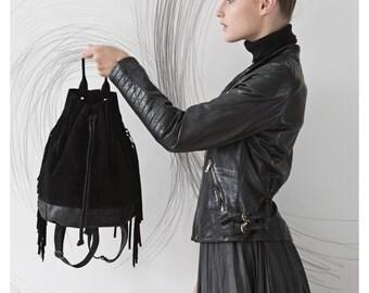 Black fringe bag, Leather fringe bag, Sack Bag, Leather satchel, For her, Drawstring backpack, Bucket bag leather, Leather backpack women