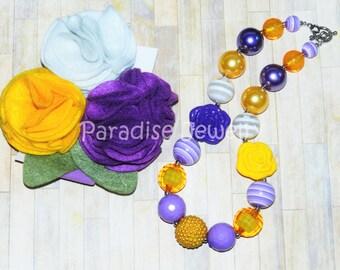 Birthday Chunky Necklace Headband Purple Mustard Yellow White Hair-bow Set, Little Girls Felt Flower Headband, Toddler, Baby Photo Prop