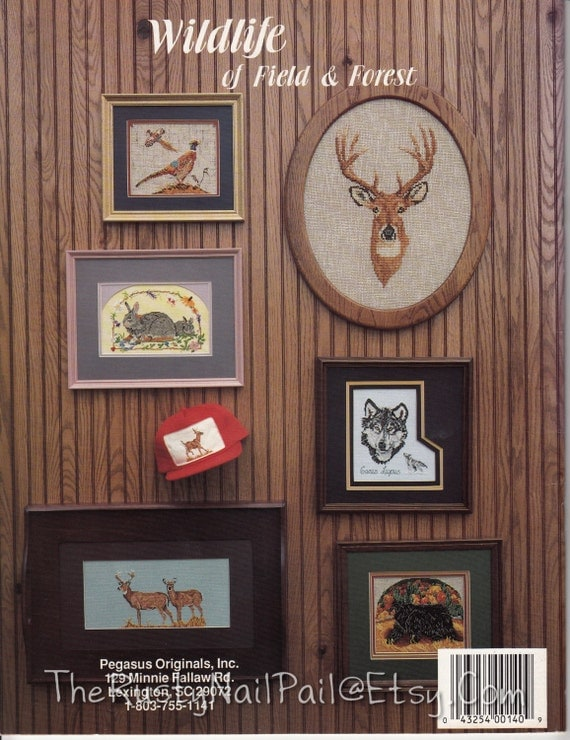 Wildlife of Field & Forest, by Stephanie Hedgepath - Pegasus Orig., Counted Cross Stitch Chart, Red Fox, Gray Wolf, Black Bear, Deer, Bobcat