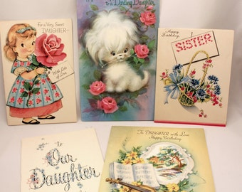 Lot 5 Vintage Daughter Sister Birthday Greeting Cards Paper Craft Card Making