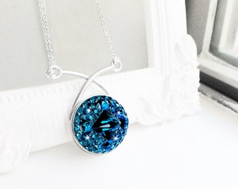Navy Blue Crystal Necklace Montana Blue Swarovski Crystal Criss-Cross Festoon Pendant Necklace