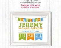 Baby Boy Nursery wall decor, Baby stats detail prints, Personalized baby boy gifts,  new baby boy gift, New baby boy announcement - BBD1