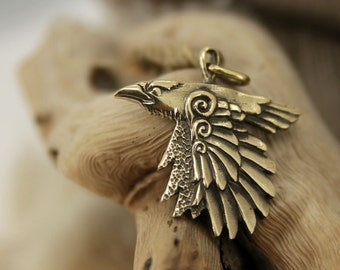 Flying raven bronze pendant necklace bird fantasy