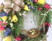 Wreath- Spring Wreath, Front Door Wreath, Easter Wreath, Spring Wreath with Birds nest, Etsy Wreath, Housewarming Gift,  Designer Wreath
