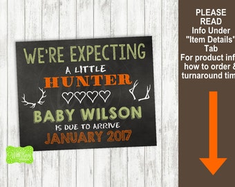 Hunting Pregnancy Announcement Sign - Printable Pregnancy Announcement Sign - Digital Chalkboard Sign - Pregnancy Reveal Sign