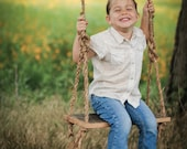 Barn wood rope swing – Child's tree swing – Hanging reclaimed wood – Rustic country summer – Backyard porch swing – Farm kids play time