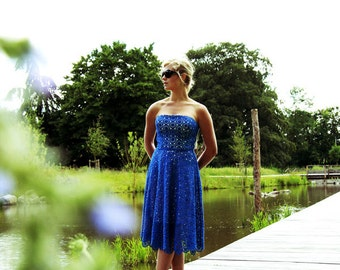Strapless midi royal blue dress, floral midi dress, below knee strapless dress, bustier dress, womens dresses, evening wear, lace dress