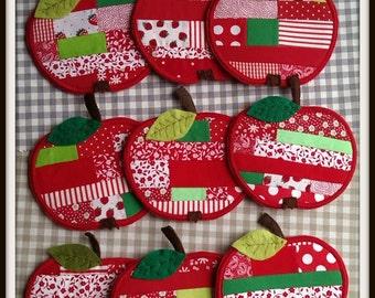 Patchwork apple mug rug/coaster, end of school/teacher gift