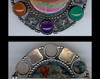 Gorgeous ANTIQUE VICTORIAN SCOTTISH sterling silver agate & gemstones brooch pin