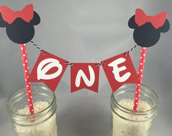 Minnie Cake Topper - Red Polka Dot- Centerpiece - Pick your Age
