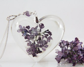 Real Lilac Necklace, Terrarium Necklace, Lilac Jewelry, Flower and Resin Jewelry, Boho Necklace, Heart Necklace, Gift For Her