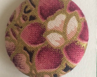 Five vintage kimono fabric covered buttons